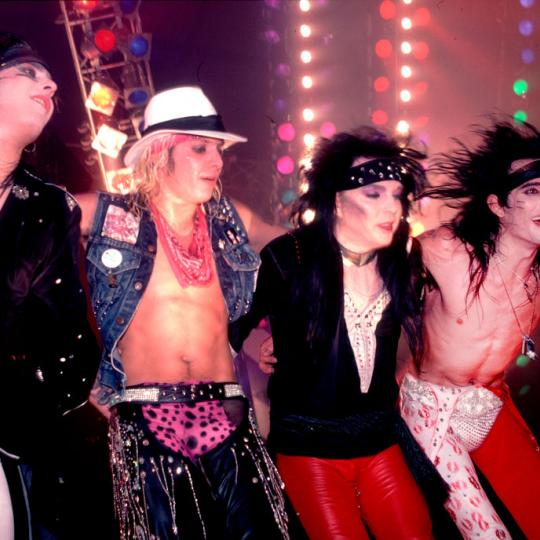 Motley Crue, left to right Nikki Sixx, Vince Neil, Mick Mars, and Tommy Lee, at the Rosemont Horizon in Rosemont, Illinois, November 1, 1985. (Photo by Motley Crue, left to right Nikki Sixx, Vince Neil, Mick Mars, and Tommy Lee, at the Rosemont Horizon in Rosemont, Illinois, November 1, 1985. (Photo by Paul Natkin/Getty Images)