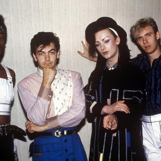 UNITED STATES - JANUARY 01: Photo of BOY GEORGE and CULTURE CLUB; Mikey Craig, Jon Moss, Boy George, Roy Hay (Photo by Ebet Roberts/Redferns)
