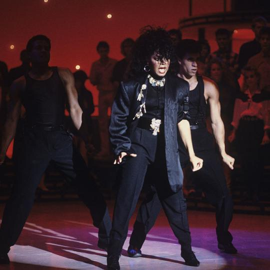 "UNITED STATES - MARCH 13: AMERICAN BANDSTAND - Show Coverage - 3/13/86, Janet Jackson on the Walt Disney Television via Getty Images Television Network dance show ""American Bandstand""., (Photo by Craig Sjodin/Walt Disney Television via Getty Images)"