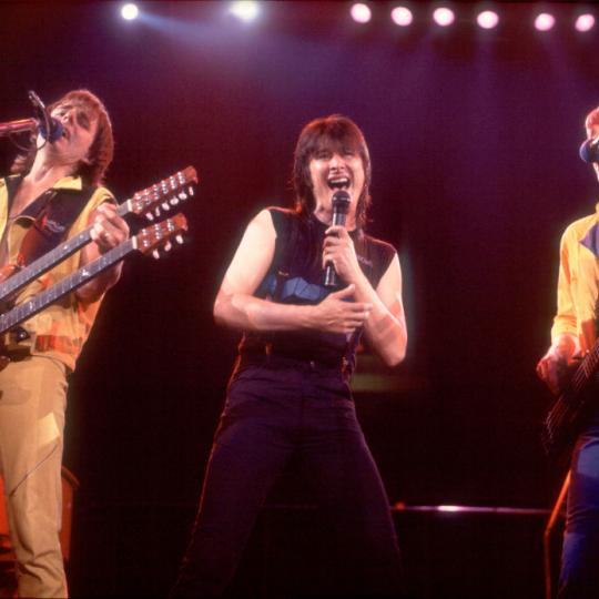 Left to right, Jonathan Cain, Steve Perry and Ross Valory of Journey perform at the Rosemont Horizon in Rosemont, Illinois, June 10, 1983. (Photo by Paul Natkin/Getty Images)