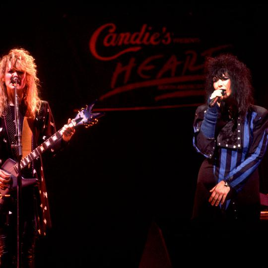 Ann and Nancy Wilson of Heart performing at the Holiday Star Theater in Merrillville, Indiana, February 7, 1984. (Photo by Paul Natkin/Getty Images)