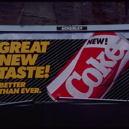 Coca Cola billboard for the short-lived New Coke. (Photo by © Todd Gipstein/CORBIS/Corbis via Getty Images)