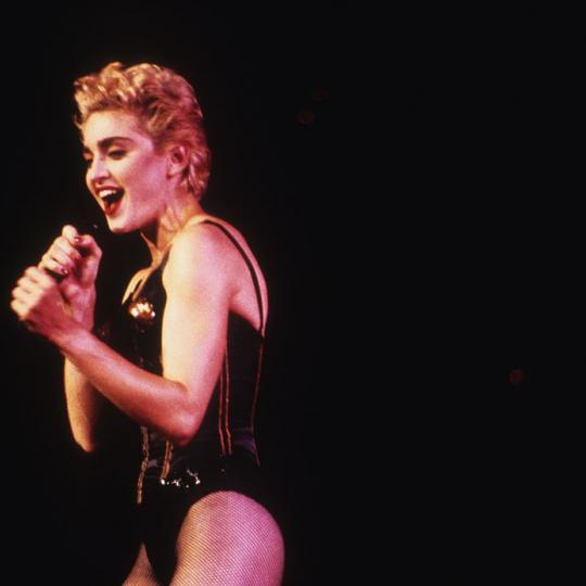 ST. PAUL, MN - JULY 29: Madonna performs on the Who's That Girl Tour at the St. Paul Civic Center in St. Paul, Minnesota on July 29, 1987. (Photo by Jim Steinfeldt/Michael Ochs Archives/Getty Images)
