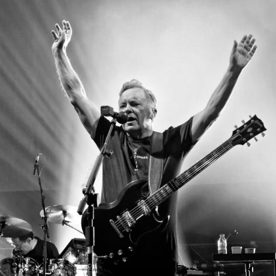 Singer and guitarist Bernard Sumner of the British band New Order performs live on stage during a concert at the Tempodrom on October 7, 2019 in Berlin, Germany. (Photo by Frank Hoensch/Redferns)