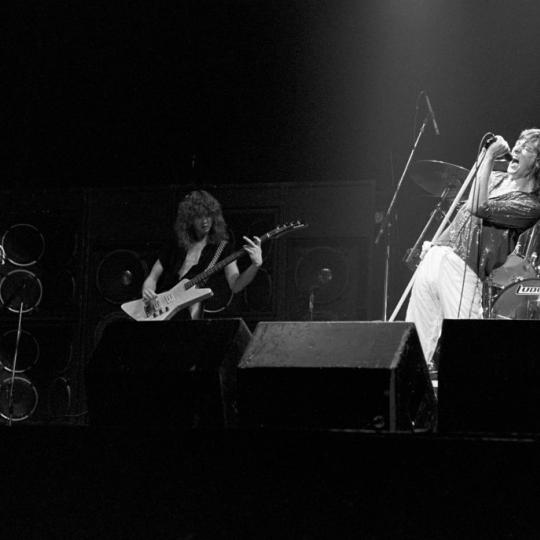 ATLANTA - SEPTEMBER 4: Steve Clark, Rick Savage, Joe Elliott and Rick Allen of Def Leppard perform at The Fox Theater on September 4, 1981 in Atlanta, Georgia. (Photo by Tom Hill/Getty Images)