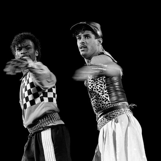 CHICAGO - OCTOBER 1985: Dancers Boogaloo Shrimp and Shabbadoo performs at the U.I.C. Pavilion in Chicago, Illinois in October1985. (Photo By Raymond Boyd/Getty Images)