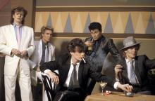 JANUARY 01: Photo of DURAN DURAN; L-R: John Taylor, Simon Le Bon, Andy Taylor (smoking cigarette), Roger Taylor, Nick Rhodes - posed, studio, group shot (Photo by Fin Costello/Redferns)