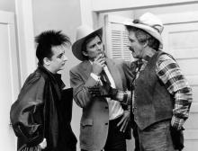 "THE A-TEAM -- ""Cowboy George"" Episode 16 -- Pictured: (l-r) Boy George as Himself, Dirk Benedict as Templeton 'Faceman' Peck, L.Q. Jones as Chuck Danford (Photo by NBCU Photo Bank/NBCUniversal via Getty Images via Getty Images)"