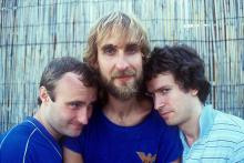 Portrait of the British singer Phil Collins, the British bassist and guitarist Mike Rutherford and the British keyboards player Tony Banks. They having a role in the British musical band called Genesis. 1981 (Photo by Angelo Deligio/Mondadori via Getty Images)