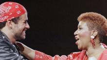Aretha Franklin and George Michael, singing