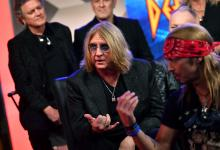 LOS ANGELES, CALIFORNIA - DECEMBER 04: (L-R) Joe Elliott of Def Leppard and Bret Michaels of Poison speak during the press conference for THE STADIUM TOUR DEF LEPPARD - MOTLEY CRUE - POISON at SiriusXM Studios on December 04, 2019 in Los Angeles, California. (Photo by Emma McIntyre/Getty Images for SiriusXM)
