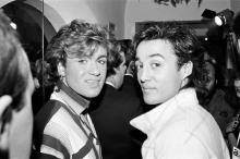 George Michael and Andrew Ridgeley of the pop group Wham! 2nd November 1984. (Photo by Mike Maloney/Mirrorpix/Getty Images)