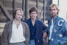 English rock group Genesis in Rosemont, Illinois, during the band's Invisible Touch Tour, October 1986. Left to right: singer/drummer Phil Collins, keyboard player Tony Banks and bassist Mike Rutherford. (Photo by Michael Putland/Getty Images)