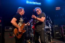 Musicians Michael Anthony and Sammy Hagar perform onstage with of The Circle during an exclusive SiriusXM concert in support of the new album 'Space Between' at The Troubadour on May 07, 2019 in Los Angeles, California. (Photo by Scott Dudelson/Getty Images)
