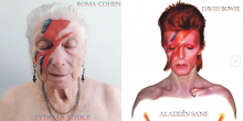 A care home resident recreates David Bowie's album cover.