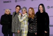 "PARK CITY, UTAH - JANUARY 24: (L-R) Kathy Valentine, Jane Wiedlin, Belinda Carlisle, Gina Shock, and Charlotte Caffey attends the ""The Go-Gos"" premiere during the 2020 Sundance Film Festival at Library Center Theater on January 24, 2020 in Park City, Utah. (Photo by Tibrina Hobson/Getty Images)"