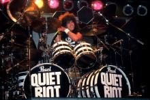 American Rock musician Frankie Banali, of the band Quiet Riot, performs onstage, Des Moines, Iowa, August 20, 1984. (Photo by Paul Natkin/Getty Images)
