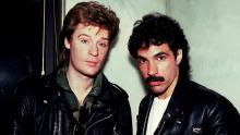 Portrait of American musicians Darryl Hall (left) and John Oates at the Whitehall Hotel, Chicago, Illinois, November 5, 1981. (Photo by Paul Natkin/Getty Images)