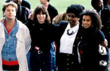 L-R: Jim Kerr, Chrissie Hynde, Winnie Mandela and Neneh Cherry in 1988