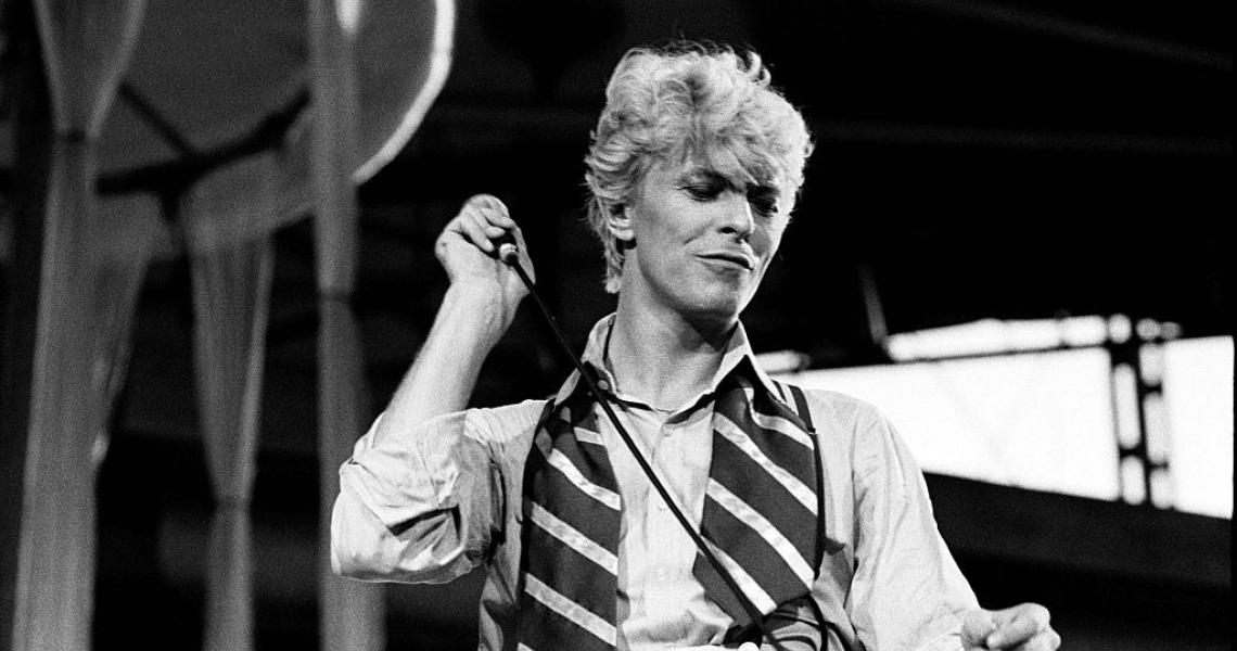 David Bowie performs on stage on the 'Serious Moonlight' tour, Milton Keynes Bowl, United Kingdom, 2nd July 1983. (Photo by Virginia Turbett/Redferns)