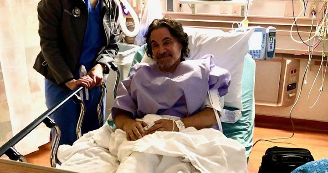 John Oates in the hopital post gall bladder surgery