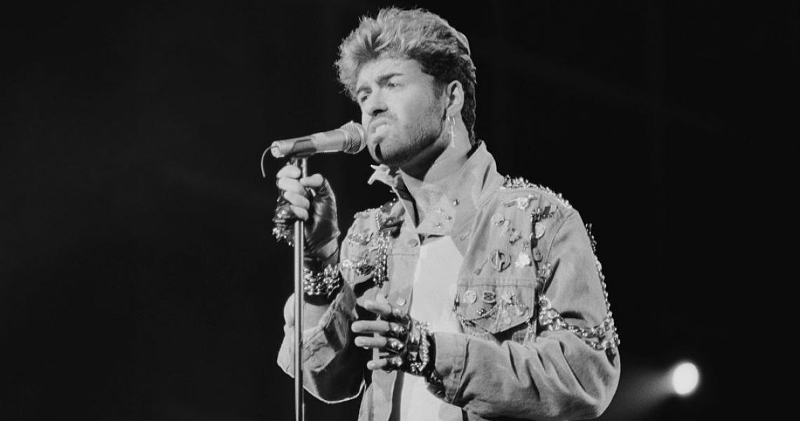 English singer and songwriter George Michael performing on stage during the Japanese/Australasian leg of his Faith World Tour, February-March 1988. (Photo by Michael Putland/Getty Images)