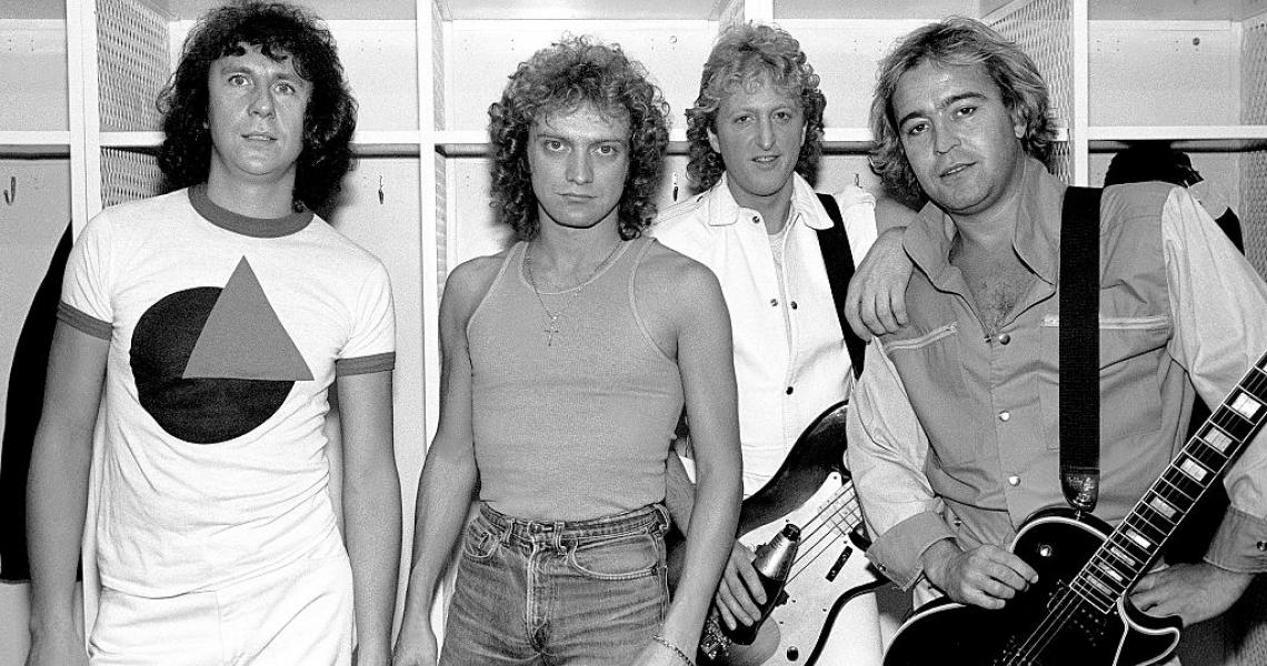 Portrait of the American-based rock band Foreigner as they pose backsatge at the Rosemont Horizon, Rosemont, Illinois, November 8, 1981. Pictured are, from left, Dennis Elliot, Lou Gramm, Rick Wills, and Mick Jones. (Photo by Paul Natkin/Getty Images)