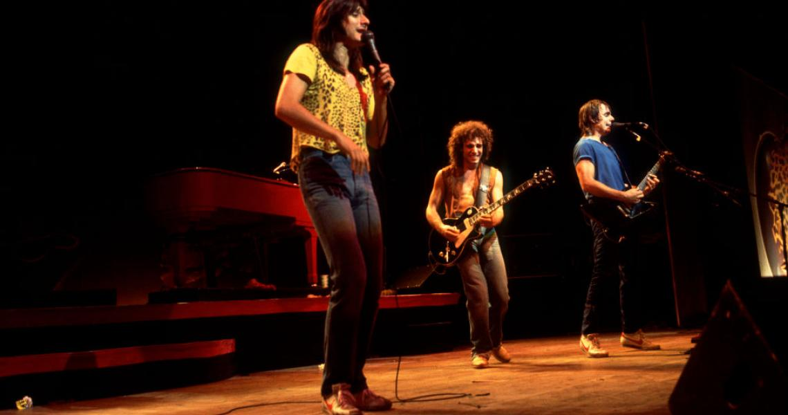 Steve Perry, Neal Schon and Jonathan Cain of Journey at the Poplar Creek Music Theater in Hoffman Estates, Illinois, September 3, 1981. (Photo by Paul Natkin/Getty Images)