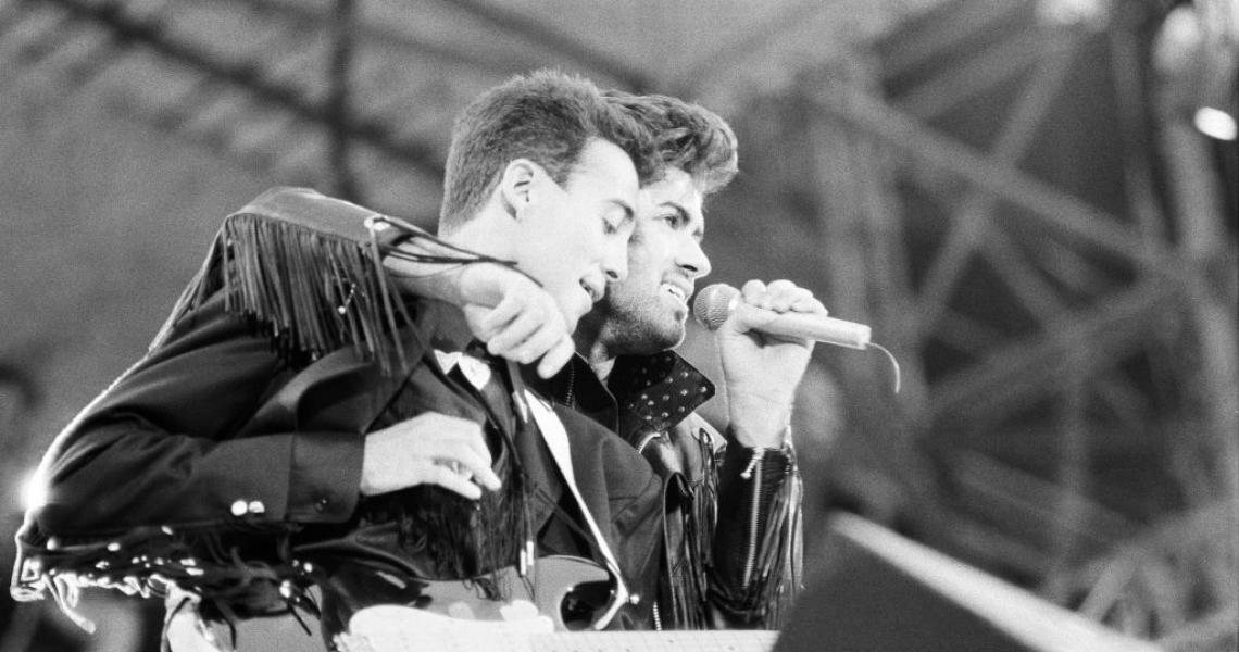 Wham, The Farewell Concert at Wembley Stadium, London England (Picture) George Michael and Andrew Ridgeley on stage. 28th June 1986. (Photo by Allan Olley/Mirrorpix via Getty Images)