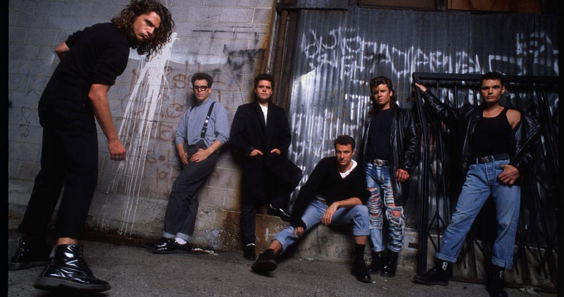 Rock band INXS (from left): Michael Hutchence, Kirk Pengilly, Andrew Farriss, Garry Gary Beers, Tim Farriss, and Jon Farriss. (Photo by Lynn Goldsmith/Corbis/VCG via Getty Images)